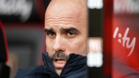 <p>               Manchester City manager Pep Guardiola gestures, prior to the start of the English Premier League soccer match between Bournemouth and Manchester City,  at the Vitality Stadium, in  Bournemouth, England, Saturday March 2, 2019. (Adam Davy/PA via AP)             </p>