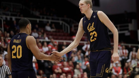 <p>               California guard Matt Bradley (20) celebrates with center Connor Vanover (23) during the first half of the team's NCAA college basketball game against Stanford in Stanford, Calif., Thursday, March 7, 2019. (AP Photo/Jeff Chiu)             </p>