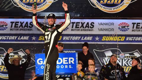 FORT WORTH, TX - MARCH 29:  Kyle Busch, driver of the #51 Cessna Toyota, celebrates in victory lane after winning the NASCAR Gander Outdoors Truck Series Vankor 350 at Texas Motor Speedway on March 29, 2019 in Fort Worth, Texas.  (Photo by Jared C. Tilton/Getty Images)