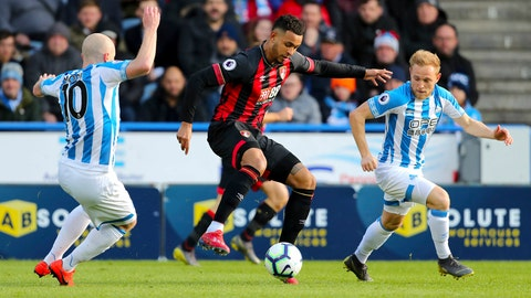 <p>               Bournemouth's Callum Wilson, centre, in action against Huddersfield, during their English Premier League soccer match at the John Smith's Stadium in Huddersfield, England, Saturday March 9, 2019.(Richard Sellers/ PA via AP)             </p>