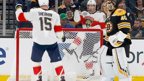 <p>               Florida Panthers right wing Troy Brouwer (22) celebrates behind the goal towards teammate Riley Sheahan (15) after scoring past Boston Bruins goaltender Tuukka Rask (40) during the second period of an NHL hockey game, Saturday, March 30, 2019, in Boston. (AP Photo/Mary Schwalm)             </p>