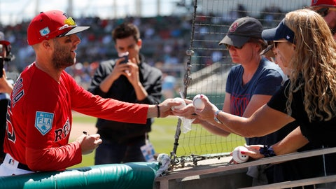 <p>               Boston Red Sox second baseman Dustin Pedroia (15) signs autographs for fans before the start a spring training baseball game against the Minnesota Twins, Thursday, March 7, 2019, in Fort Myers, Fla. (AP Photo/John Bazemore)             </p>
