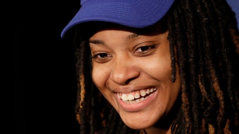 <p>               Chiquita Evans smiles after being selected as the 56th pick overall by the Warriors Gaming Squad at the NBA 2K League draft Tuesday, March 5, 2019, in New York. Evans is the first woman selected in the esports league. (AP Photo/Frank Franklin II)             </p>