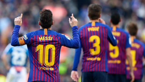 <p>               Barcelona's Lionel Messi, left, celebrates after scoring his side's second goal during a Spanish La Liga soccer match between FC Barcelona and Espanyol at the Camp Nou stadium in Barcelona, Spain, Saturday March 30, 2019. (AP Photo/Manu Fernandez)             </p>