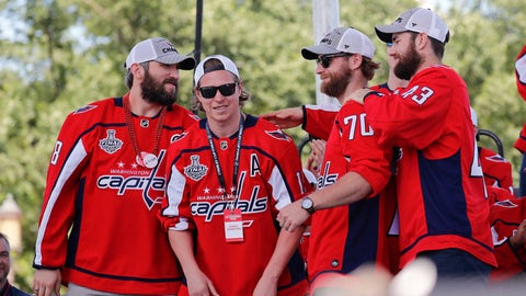 <p>               FILE - In this June 12, 2018, file photo, Washington Capitals' Alex Ovechkin (8), of Russia; Nicklas Backstrom (19), of Sweden; Braden Holtby (70); and Tom Wilson (43) greet each other on stage during the Stanley Cup victory celebration on the National Mall in Washington. Two Capitals said recently they would not join their teammates in visiting President Donald Trump at the White House on Monday to celebrate their Stanley Cup championship. Holtby and Brett Connolly, each of whom is Canadian, said they'd respectfully decline the invitation. Several other players, including Ovechkin, Americans T.J. Oshie and John Carlson and American coach Todd Reirden, have said they're going. A vast majority of the team is expected to tour of the White House and meet Trump in the Oval Office in a private ceremony. (AP Photo/Pablo Martinez Monsivais, File)             </p>
