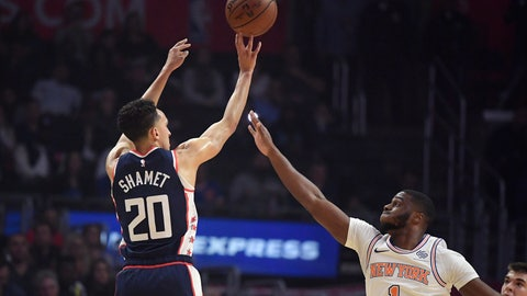 <p>               Los Angeles Clippers guard Landry Shamet, left, shoots a three-point basket as New York Knicks guard Emmanuel Mudiay defends during the first half of an NBA basketball game Sunday, March 3, 2019, in Los Angeles. (AP Photo/Mark J. Terrill)             </p>