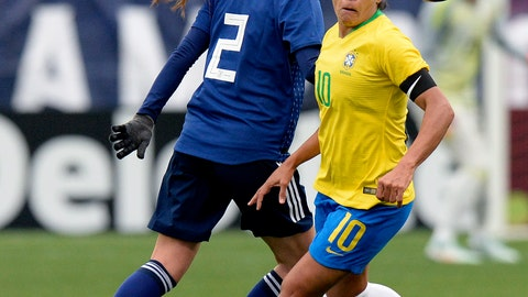 <p>               Japan midfielder Rumi Utsugi (2) and Brazil forward Marta (10) chase the ball during the first half of a SheBelieves Cup women's soccer match Saturday, March 2, 2019, in Nashville, Tenn. (AP Photo/Mark Zaleski)             </p>