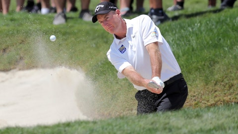 <p>               Jim Furyk hits from the bunker on the first hole during the final round of the Valspar Championship golf tournament Sunday, March 24, 2019, in Palm Harbor, Fla. (AP Photo/Mike Carlson)             </p>