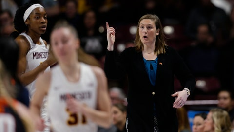 <p>               FILE - In this Jan. 6, 2019, file photo, Minnesota coach Lindsay Whalen gestures during the team's NCAA college basketball game against Illinois in Minneapolis. Whalen's team got off to a perfect start, winning all 11 non-conference games and earning a Top 25 ranking. Then Big Ten play set in and the Golden Gophers struggled, losing seven of their first nine games in the conference. Losing games helped give Whalen a better perspective of what it took to be a good coach. (AP Photo/Andy Clayton-King, File)             </p>