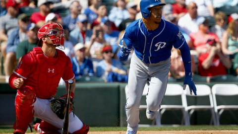 <p>               Kansas City Royals' Adalberto Mondesi, right, and Los Angeles Angels catcher Kevan Smith watch Mondesi's home run during the first inning of a spring training baseball game Friday, March 1, 2019, in Tempe, Ariz. (AP Photo/Ross D. Franklin)             </p>