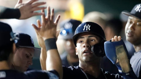 <p>               New York Yankees' Gleyber Torres (25) celebrates in the dugout after scoring on a Greg Bird single in the fourth inning of a spring training baseball game against the Baltimore Orioles Saturday, March 9, 2019, in Sarasota, Fla. (AP Photo/John Bazemore)             </p>