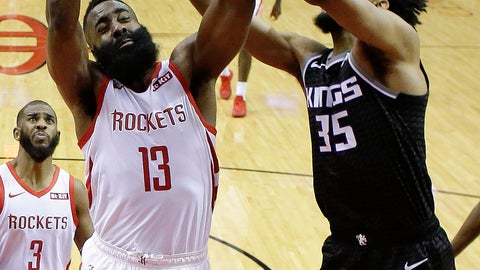 <p>               Houston Rockets guard James Harden (13) grabs a rebound from Sacramento Kings forward Marvin Bagley III during the second half of an NBA basketball game, Saturday, March 30, 2019, in Houston. Houston won the game, 119-108. (AP Photo/Eric Christian Smith)             </p>