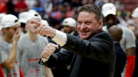 <p>               Texas Tech head coach Chris Beard celebrates after the team's win against Gonzaga during the West Regional final in the NCAA men's college basketball tournament Saturday, March 30, 2019, in Anaheim, Calif. Texas Tech won 75-69. (AP Photo/Marcio Jose Sanchez)             </p>