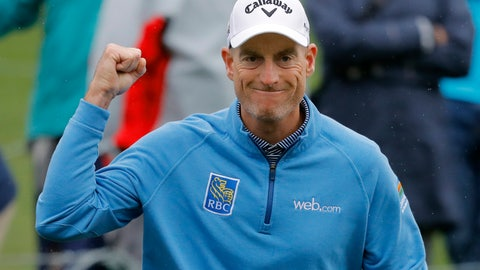 <p>               Jim Furyk pumps his fist after making a birdie on the ffifth hole during the final round of The Players Championship golf tournament Sunday, March 17, 2019, in Ponte Vedra Beach, Fla. (AP Photo/Gerald Herbert)             </p>