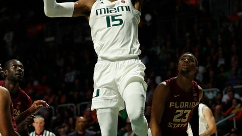 <p>               FILE - In this Jan. 27, 2019, file photo, Miami center Ebuka Izundu (15) dunks the ball during the first half of an NCAA college basketball game against Florida State, in Coral Gables, Fla. The mother of Miami Hurricanes senior center Ebuka Izundu is flying from her home in Nigeria to see him play a college game for the first time. Emma Izundu will attend Tuesday's, March 5, 2019,  game against Pittsburgh, the final home game of her son's four-year Miami career.(AP Photo/Wilfredo Lee, File)             </p>