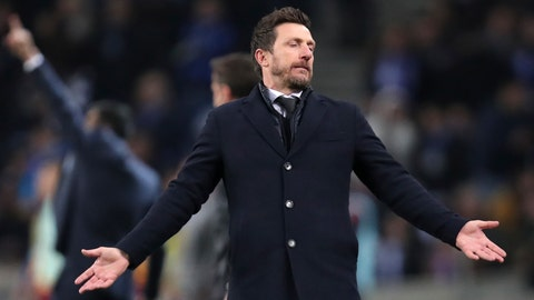 <p>               Roma coach Eusebio Di Francesco gestures during the Champions League round of 16, 2nd leg, soccer match between FC Porto and AS Roma at the Dragao stadium in Porto, Portugal, Wednesday, March 6, 2019. (AP Photo/Luis Vieira)             </p>