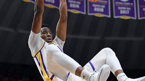 <p>               LSU forward Kavell Bigby-Williams (11) dunks the ball in front of Vanderbilt forward Clevon Brown (15) in the first half of an NCAA college basketball game, Saturday, March 9, 2019, in Baton Rouge, La. (AP Photo/Bill Feig)             </p>