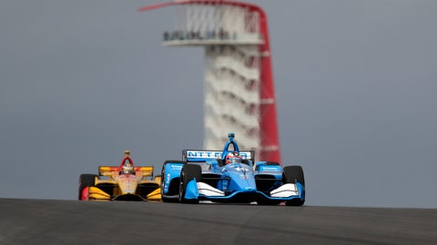 <p>               Felix Rosenqvist (10), of Sweden, and Ryan Hunter-Reay (28), of United States, steer through a turn during an open practice session for the IndyCar Classic auto race, Saturday, March 23, 2019, in Austin, Texas. (AP Photo/Eric Gay)             </p>