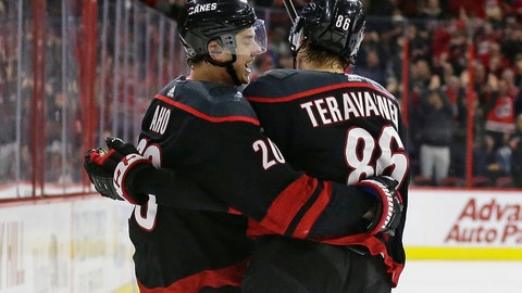 <p>               Carolina Hurricanes' Sebastian Aho (20), of Finland, celebrates his goal against the St. Louis Blues with Hurricanes' Teuvo Teravainen (86), of Finland, during the second period of an NHL hockey game in Raleigh, N.C., Friday, March 1, 2019. (AP Photo/Gerry Broome)             </p>