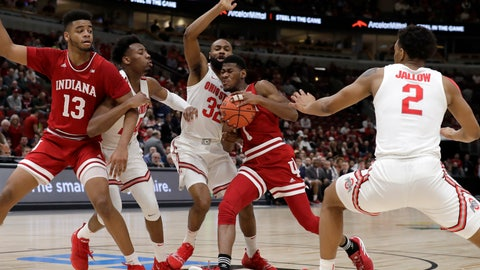 <p>               Indiana's Aljami Durham (1) drives against Ohio State's Keyshawn Woods (32) during the first half of an NCAA college basketball game in the second round of the Big Ten Conference tournament, Thursday, March 14, 2019, in Chicago. (AP Photo/Nam Y. Huh)             </p>