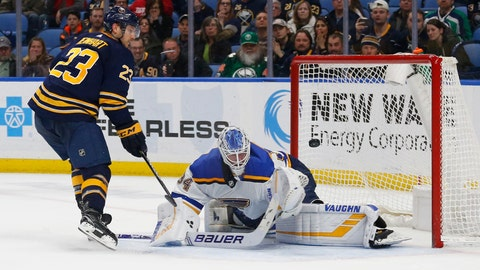 <p>               Buffalo Sabres forward Sam Reinhart (23) puts the puck past St. Louis Blues goalie Jake Allen (34) during the shootout of an NHL hockey game, Sunday, March 17, 2019, in Buffalo N.Y. (AP Photo/Jeffrey T. Barnes)             </p>