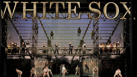 """<p>               This image released by the Minnesota Opera shows the cast during the world premiere of """"The Fix,"""" at the Ordway Center for the Performing Arts in St. Paul, Minn. Joel Puckett composed """"The Fix"""" about the Chicago Black Sox agreeing to throw the 1919 World Series, a work that premieres Saturday at the Minnesota Opera. (Cory Weaver/Minnesota Opera via AP)             </p>"""