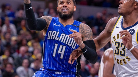 <p>               Orlando Magic guard D.J. Augustin (14) drives in to score during the first half of an NBA basketball game against the Indiana Pacers, Saturday, March 2, 2019, in Indianapolis. (AP Photo/Doug McSchooler)             </p>