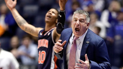 <p>               Auburn head coach Bruce Pearl reacts to a call against his team in the first half of an NCAA college basketball game against South Carolina at the Southeastern Conference tournament Friday, March 15, 2019, in Nashville, Tenn. (AP Photo/Mark Humphrey)             </p>