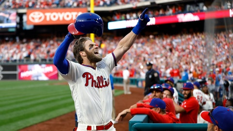 <p>               Philadelphia Phillies' Bryce Harper celebrates after hitting a home run off Atlanta Braves relief pitcher Jesse Biddle during the seventh inning of a baseball game, Saturday, March 30, 2019, in Philadelphia. (AP Photo/Matt Slocum)             </p>
