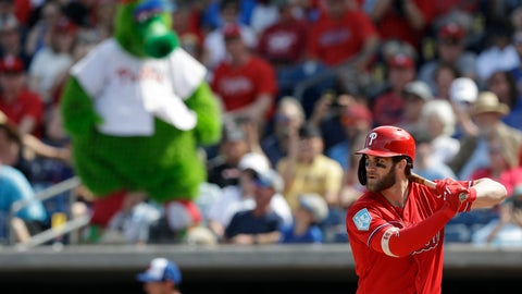 <p>               Philadelphia Phillies' Bryce Harper bats against the Toronto Blue Jays during the third inning of a spring training baseball game Saturday, March 9, 2019, in Clearwater, Fla. (AP Photo/Chris O'Meara)             </p>