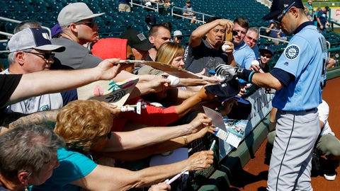 <p>               Seattle Mariners' Ichiro Suzuki, of Japan, signs autographs prior to a spring training baseball game against the Cleveland Indians Wednesday, Feb. 27, 2019, in Goodyear, Ariz. (AP Photo/Ross D. Franklin)             </p>