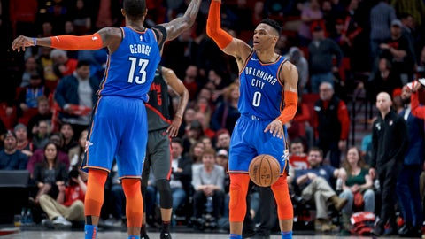 <p>               Oklahoma City Thunder guard Russell Westbrook, right, and forward Paul George high-five at the end of overtime of an NBA basketball game against the Portland Trail Blazers in Portland, Ore., Thursday, March 7, 2019. The Thunder won 129-121. (AP Photo/Craig Mitchelldyer)             </p>