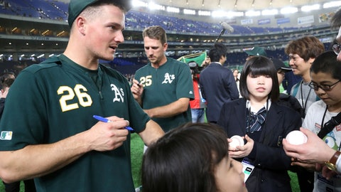 <p>               Oakland Athletics third baseman Matt Chapman (26) gives his autographs to fans prior to Game 1 of a Major League opening series baseball game between the Seattle Mariners and the Athletics at Tokyo Dome in Tokyo, Wednesday, March 20, 2019 in Tokyo, (AP Photo/Koji Sasahara)             </p>