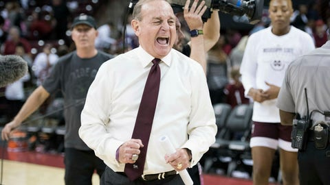 <p>               Mississippi State head coach Vic Schaefer reacts at the conclusion an NCAA college basketball game against South Carolina, Sunday, March 3, 2019, in Columbia, S.C. (AP Photo/Sean Rayford)             </p>