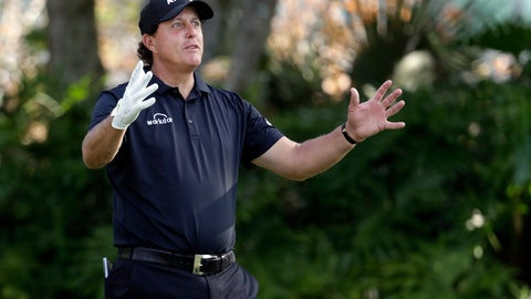<p>               Phil Mickelson gestures as he waits his turn to tee off on the 13th hole during the first round of The Players Championship golf tournament Thursday, March 14, 2019, in Ponte Vedra Beach, Fla. (AP Photo/Lynne Sladky)             </p>