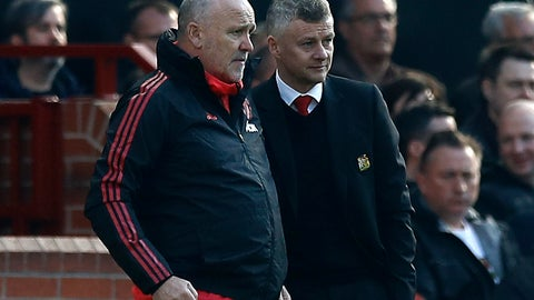 <p>               Manchester United manager Ole Gunnar Solskjaer, right and assistant manager Mike Phelan watch the action,  during the English Premier League soccer match between Manchester United and Watford, at Old Trafford, in Manchester, England, Saturday March 30, 2019. (Martin Rickett/PA via AP)             </p>