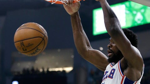 <p>               Philadelphia 76ers' Joel Embiid dunks during the first half of the team's NBA basketball game against the Milwaukee Bucks on Sunday, March 17, 2019, in Milwaukee. (AP Photo/Aaron Gash)             </p>