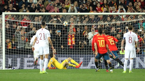 <p>               Spain's Sergio Ramos, second from right, scores on a penalty kick his side's second goal during the Euro 2020 group F qualifying soccer match between Spain and Norway at the Mestalla stadium in Valencia, Spain, Saturday, March 23, 2019. (AP Photo/Alberto Saiz)             </p>