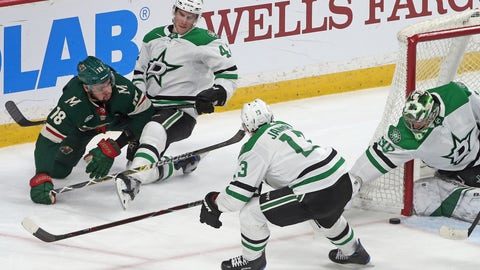 <p>               Dallas Stars goalie Ben Bishop, right, stops a shot by Minnesota Wild's Jordan Greenway, left, as Stars' Taylor Fedun, second from left, defends in the first period of an NHL hockey game Thursday, March 14, 2019, in St. Paul, Minn. (AP Photo/Jim Mone)             </p>