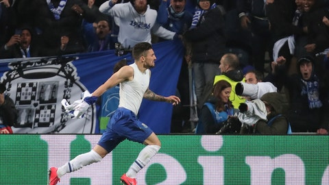 <p>               Porto defender Alex Telles celebrates after scoring his side's third goal during the Champions League round of 16, 2nd leg, soccer match between FC Porto and AS Roma at the Dragao stadium in Porto, Portugal, Wednesday, March 6, 2019. (AP Photo/Luis Vieira)             </p>