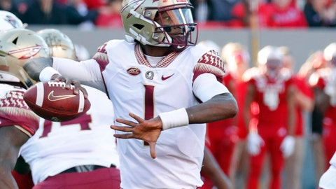 <p>               FILE - In this Nov. 3, 2018, file photo, Florida State quarterback James Blackman (1) looks to pass during the first half of an NCAA college football game against North Carolina State, in Raleigh, N.C. Blackman is clearly the Florida State's No. 1 quarterback after two-year starter Deondre Fancois was dismissed from the squad about a month ago. (AP Photo/Chris Seward, File)             </p>