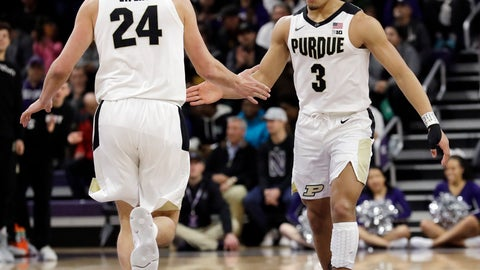 <p>               Purdue guard Carsen Edwards, right, celebrates with forward Grady Eifert after scoring a basket against Northwestern during the first half of an NCAA college basketball game Saturday, March 9, 2019, in Evanston, Ill. (AP Photo/Nam Y. Huh)             </p>