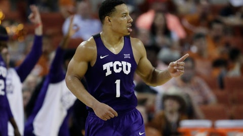 <p>               TCU guard Desmond Bane (1) runs up court after scoring against Texas during the second half of an NCAA college basketball game, Saturday, March 9, 2019, in Austin, Texas. (AP Photo/Eric Gay)             </p>