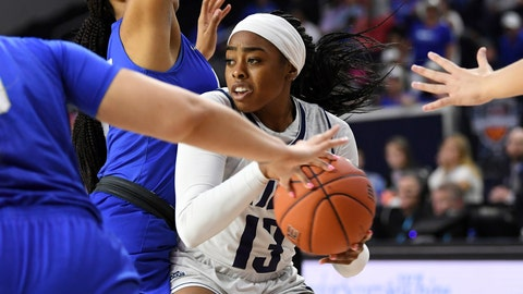 <p>               Rice guard Erica Ogwumike (13) fights through the defense of Middle Tennessee forward Jordan Majors, left, in the second half of an NCAA college basketball game in the championship game of the Conference USA women's tournament, Saturday, March 16, 2019, in Frisco, Texas. Rice won 69-54. (AP Photo/Jeffrey McWhorter)             </p>