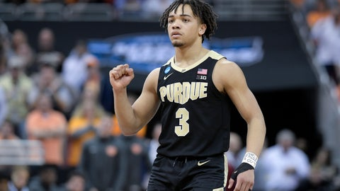 <p>               Purdue's Carsen Edwards reacts to a score during overtime of a men's NCAA Tournament college basketball South Regional semifinal game against Tennessee Thursday, March 28, 2019, in Louisville, Ky. Purdue won 99-94. (AP Photo/Timothy D. Easley)             </p>