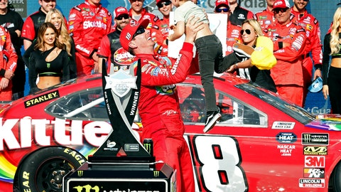 <p>               Kyle Busch tosses his son Brexton in the air after winning the NASCAR Cup Series auto race at ISM Raceway, Sunday, March 10, 2019, in Avondale, Ariz. (AP Photo/Ralph Freso)             </p>
