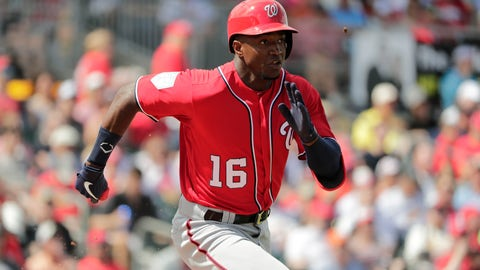 <p>               Washington Nationals' Victor Robles (16) runs to first base in the third inning of an exhibition spring training baseball game against the St. Louis Cardinals on Friday, March 8, 2019, in Jupiter, Fla. (AP Photo/Brynn Anderson)             </p>