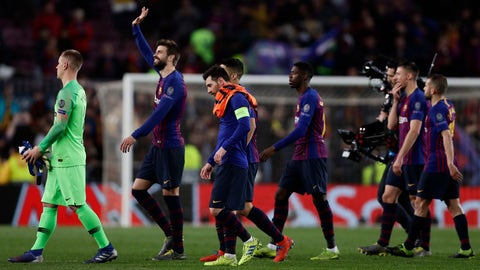 <p>               Barcelona defender Gerard Pique, second left, applauds fans at the end of the Champions League round of 16, 2nd leg, soccer match between FC Barcelona and Olympique Lyon at the Camp Nou stadium in Barcelona, Spain, Wednesday, March 13, 2019. (AP Photo/Manu Fernandez)             </p>