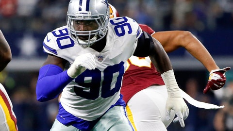 <p>               FILE - In this Nov. 22, 2018, file photo, Dallas Cowboys defensive end Demarcus Lawrence (90) rushes during the first half of an NFL football game against the Washington Redskins in Arlington, Texas. The Cowboys placed a franchise tag on Lawrence before the NFL deadline on Tuesday, March 5, 2019. (AP Photo/Ron Jenkins, File)             </p>