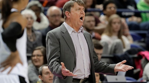 <p>               North Carolina State head coach Wes Moore reacts to being called for a technical foul during the first half of an NCAA college basketball game against Louisville in the Atlantic Coast Conference women's tournament in Greensboro, N.C., Saturday, March 9, 2019. (AP Photo/Chuck Burton)             </p>